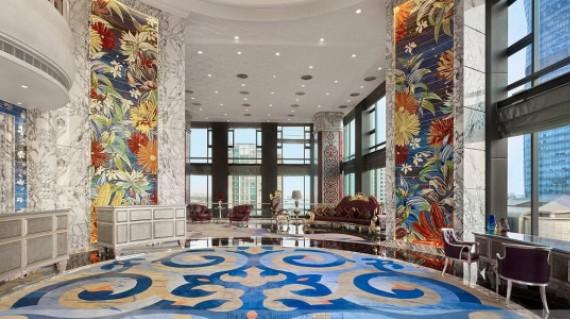 Sảnh khách sạn đẹp tại Hà Nội được trang trí bằng thảm trải sàn